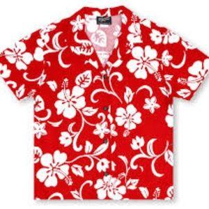 Red Hibiscus Flower Aloha Shirt
